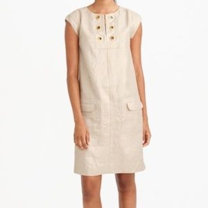 J. Crew Linen Shift Dress with Grommets Gold